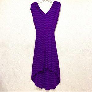 Super Soft High-Low Hem V-Neck Purple/Blue Dress